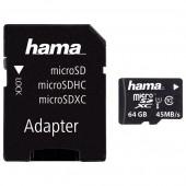 Card de memorie microSDHC 64GB Clasa 10 UHS-I 45MB/S + adaptor HAMA