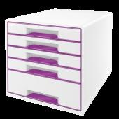 Cabinet cu sertare 5 sertare alb/mov LEITZ WOW