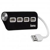 Hub USB HAMA 4 porturi negru