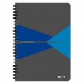 Caiet cu spira coperta carton A5 albastru matematica Leitz Office