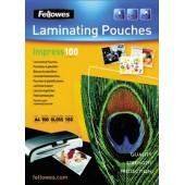 Folie laminare A4 100 microni 100 folii/cutie FELLOWES Impress100