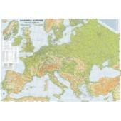 Harta plastifiata Europa fizica si rutiera 100 x 70cm AMCO PRESS