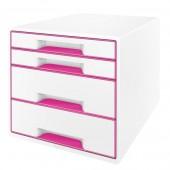 Cabinet cu sertare 4 sertare alb/roz LEITZ WOW